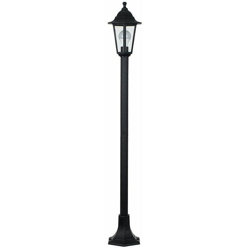 Image of 1.2M Black Ip44 Outdoor Lamp Post Bollard Light + 10W LED Gls Bulb - Warm White
