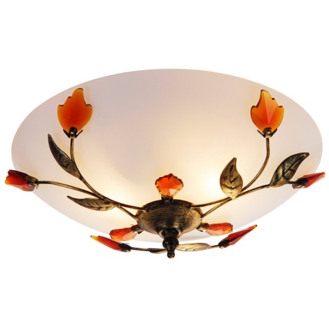 Traditionally Designed Frosted Glass Flush Ceiling Light with Amber Leaves by Happy Homewares