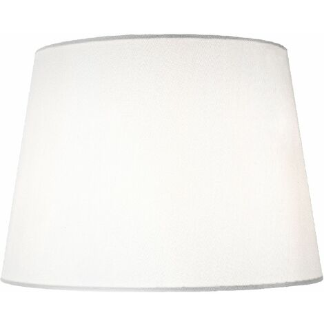 """main image of """"Traditionally Designed Large 14"""" Drum Lamp Shade in Sleek White Faux Silk Fabric by Happy Homewares"""""""
