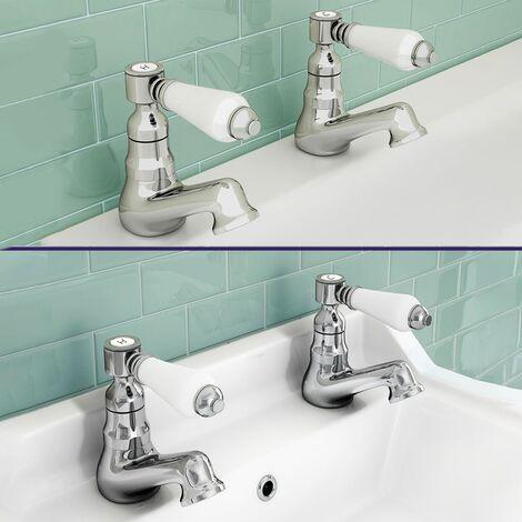 "main image of ""Trafford Bathroom Twin Basin & Bath Taps Chrome"""