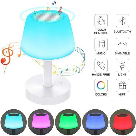 Tragbare Bluetooth-Lautsprecher-LED-Nachttischlampe, Touchscreen-Nachtlicht mit Farbwechsel, wiederaufladbare Tischlampe mit warmweißem Licht für Schlafzimmer, Kinderzimmer und Wohnzimmer