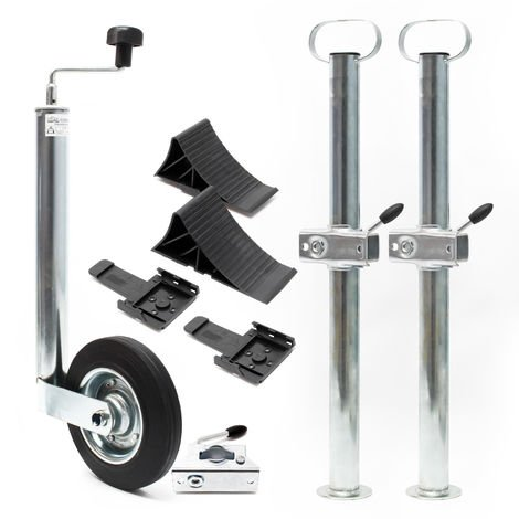 Trailer Security Set with 10pcs. incl. Support Wheel, Wheel Chocks, etc. for max. 150kg Weight