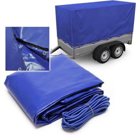 Trailer Tarpaulin 2075x1150x900 mm with 2 Zippers Made of Weather Resistant Polyester 1000D