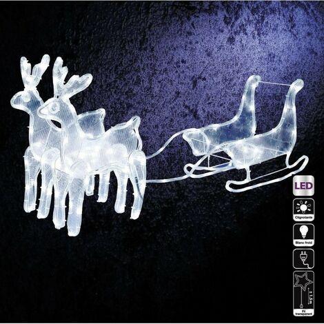 Traîneau + 2 rennes lumineux blanc froid - Blanc froid