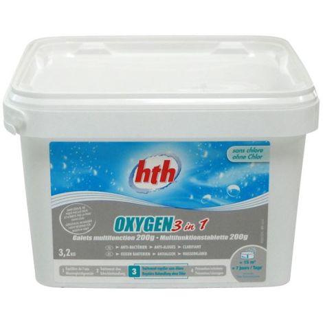 Traitement HTH Oxygene actif 3 en 1 - 3.2kg - D800260H1
