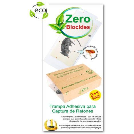 Trampa Adhesiva Captura Ratones ZERO BIOCIDES, con Cebo, Sin Veneno, No Tóxica, 2+1 Gratis