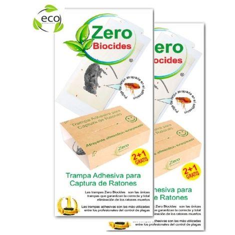 Trampa Adhesiva Captura Ratones ZERO BIOCIDES, con Cebo, Sin Veneno, No Tóxica, 2+1 Gratis (Pack 2)