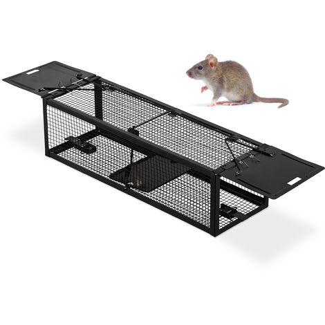 Trampa Ratas y Ratones, Jaula Roedores, Ratonera Reutilizable, para Capturar, Hierro, 11 x 39 x 12,5 cm, Negro