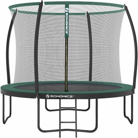 Trampolin Ø 305 cm, rundes Gartentrampolin mit Sicherheitsnetz, mit Leiter und gepolsterten Stangen, Sicherheitsabdeckung, TÜV Rheinland getestet, sicher,schwarz-dunkelgrün STR102C01 - Negro y Verde Oscuro