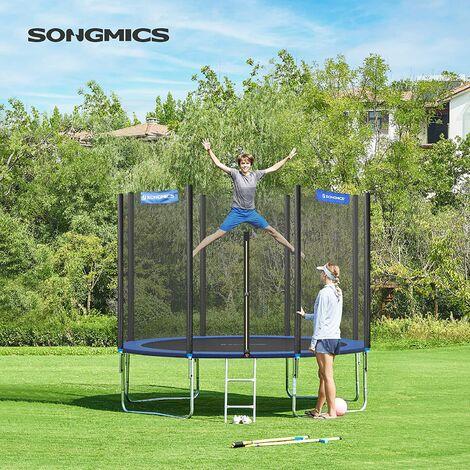 Trampolín Ø305cm, Redondo, para el Jardín, con Escalera, Caja de Red de Seguridad, Postes Rectos Acolchados, TÜV Rheinland Prueba de Seguridad, Negro y Azul STR10FT - Azul