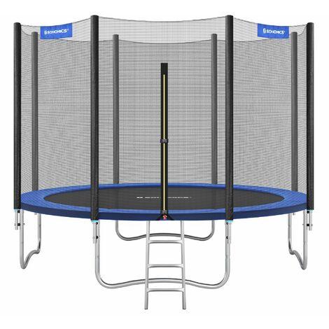 Trampolin Ø366cm, rundes Gartentrampolin mit Sicherheitsnetz, mit Leiter und gepolsterten Stangen, Sicherheitsabdeckung, TÜV Rheinland getestet, sicher, outdoor, Schwarz, Blau STR124 - Blue