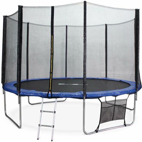 Trampolin 370cm - Saturne XXL Blau - mit Schutznetz, Leiter, Plane, Schuhnetz, Verankerungsset, Gartentrampolin 370 cm   PRO Qualität   EU-Norm
