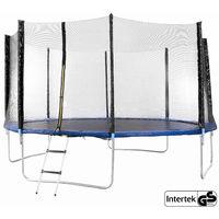 Trampolin 427 cm (mit Sicherheitsnetz, Leiter, gepolsterten Netzpfosten und Randabdeckung) - Gartentrampolin Outdoor