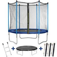 Trampolin / cama elástica Happy - Ø 3.05 m - con malla + escalera + covertura+ kit de anclaje
