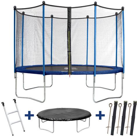 Trampolin / cama elástica Happy - Ø 4.25 m - con malla + escalera + covertura+ kit de anclaje
