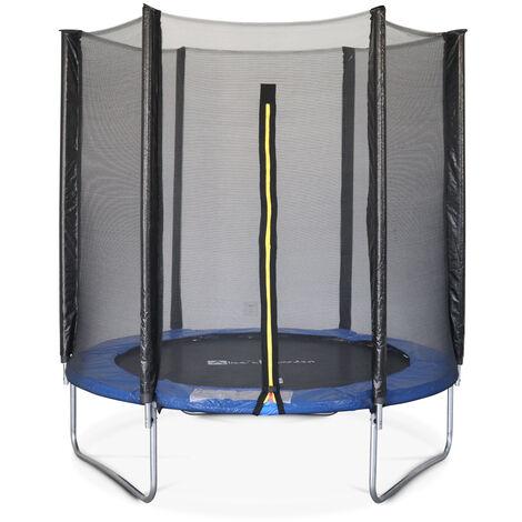 Cama elástica 180 cm, Trampolín para niños, Azul, altura de la red de seguridad 150 cm - Cassiope