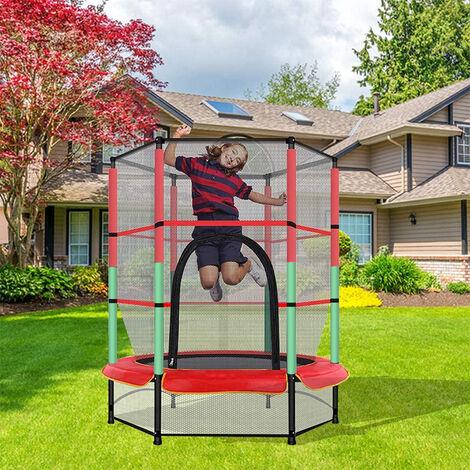 Trampolín de jardín para niños, cama elástica elástica con red de seguridad, 140 cm de diámetro, red protectora, cuerda elástica