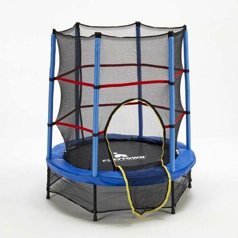 Trampolin Elastischer Teppich Outdoor Indoor für Kinder 140cm Netz und Sicherheitspolsterung FROG