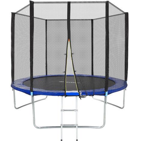 Trampolín Garfunky - cama elástica para niños, trampolín de estructura de acero con escalera, cama elástica con red de protección