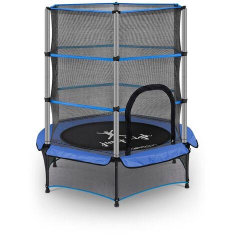 Trampolin Kinder Trampolin für Kinder kleines mit Netz Ø 140 cm bis 50 kg blau