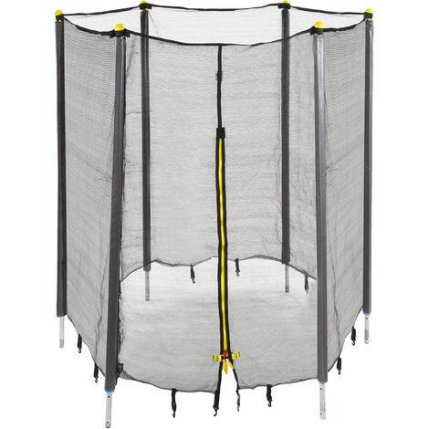 Trampolin Netz, Fangnetz für Gartentrampolin, mit 6 gepolsterten Stangen, Sicherheitsnetz, Ø 183 cm, schwarz