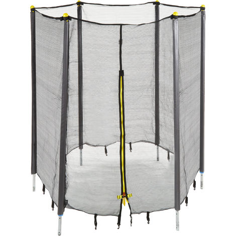 Trampolin Netz, Fangnetz für Gartentrampolin, mit 6 gepolsterten Stangen, Sicherheitsnetz, Ø 244 cm, schwarz