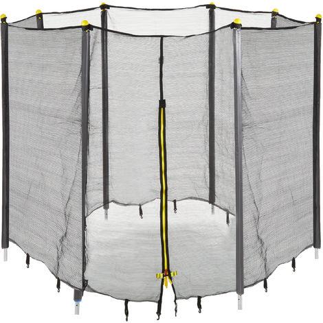 Trampolin Netz, Fangnetz für Gartentrampolin, mit 8 gepolsterten Stangen, Sicherheitsnetz, Ø 427 cm, schwarz