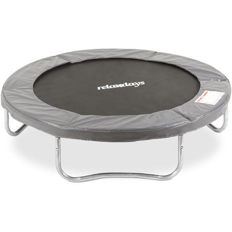 Trampolin Outdoor, Gartentrampolin für Kinder & Erwachsene, bis 150kg, schützende Randabdeckung, Ø 183cm, grau