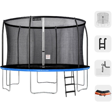 Trampolín redondo exterior Azul + Naranja 305 + Escalera + Kit de anclaje fitness jardín