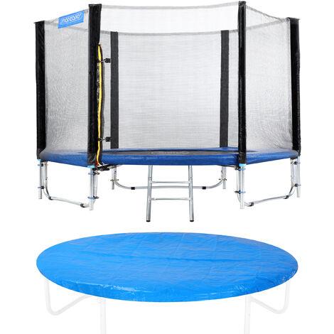 Trampoline Ø 244/305/366/426 cm Set complet Filet de sécurité + Bâche de protection + Echelle + Coussin Jardin Jeux
