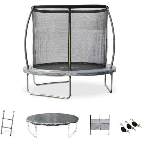 Trampoline Ø 250cm - Gémeaux XXL- trampoline de jardin gris avec filet de protection et accessoires 2,5m 250cm