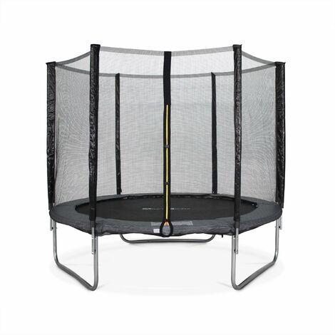 trampoline 250cm pluton gris avec son filet de. Black Bedroom Furniture Sets. Home Design Ideas