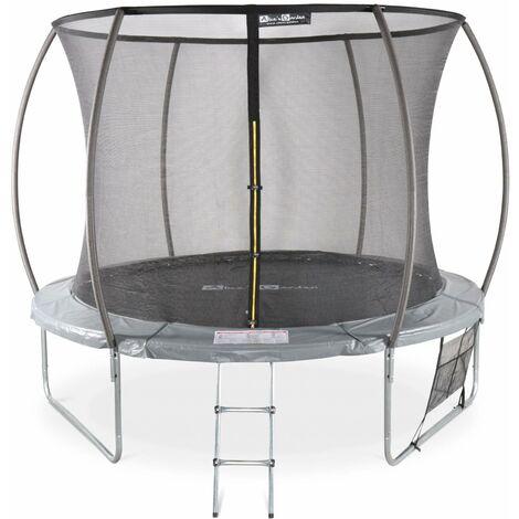 Trampoline Ø 305cm - Mars Inner XXL- trampoline de jardin gris avec filet de protection intérieur, échelle, bâche, filet pour chaussures et kit d'ancrage 3,05m 305cm