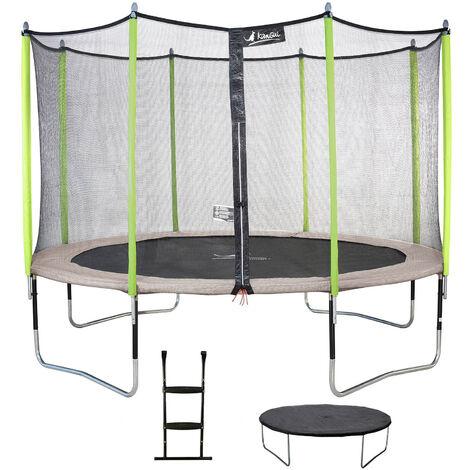 Trampoline 360 cm + filet de sécurité + échelle + bâche JUMPI Taupe/Vert 360 - Vert
