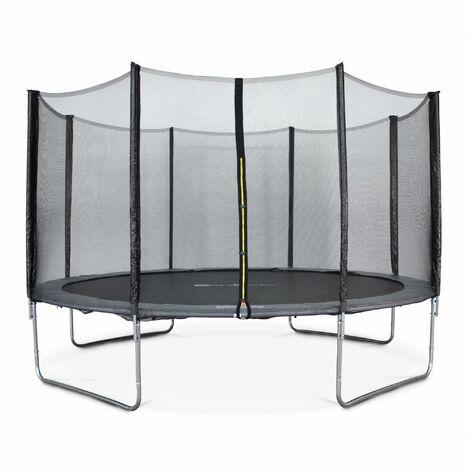 Trampoline Ø400cm - Mercure gris avec son filet de protection - Trampoline de jardin 400cm 4m