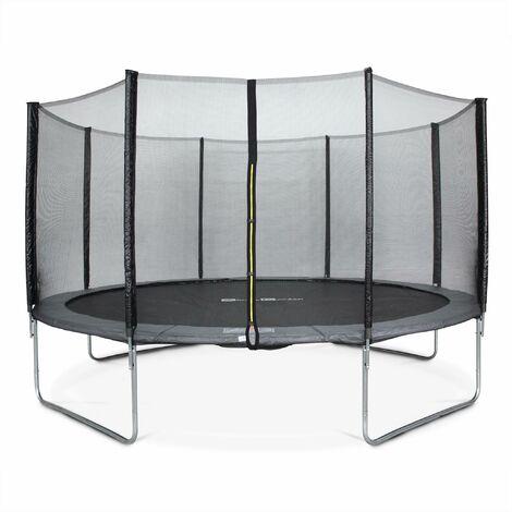 Trampoline Ø430cm - Vénus gris avec son filet de protection - Trampoline de jardin 430 cm 4m