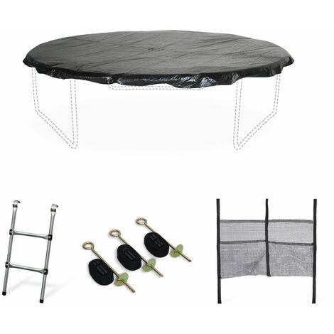 Trampoline Accessories Pack - Various Sizes - Ladder, Rain Cover, Shoe Net, Anchor Kit