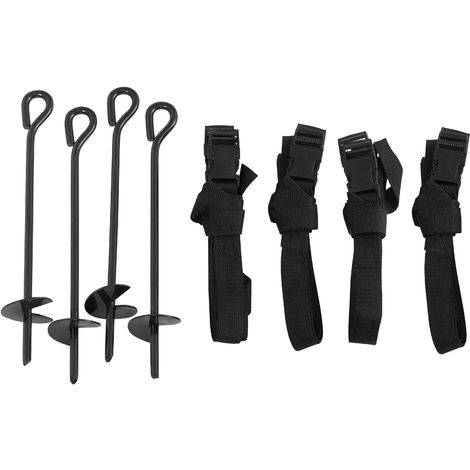 Trampoline Anchor Kit | Anchoring Tie Down Pegs / Stakes | Metal Ground Anchors | Set of 4