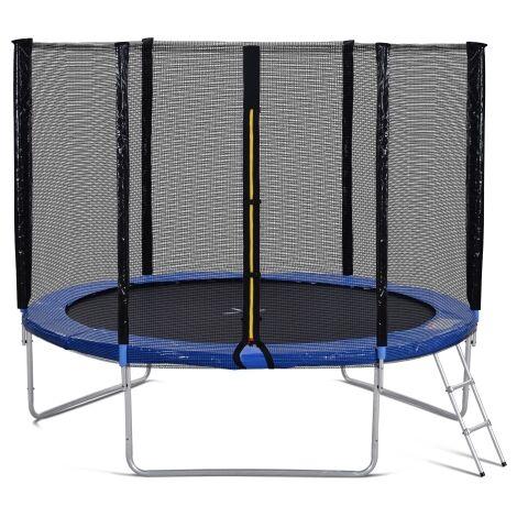 Trampoline d exterieur avec barriere de securite et echelle, trampoline de jardin 10FT avec 150 kg, a passe le test GS et T?V