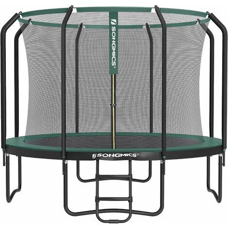 Trampoline de 305 cm, Trampoline de Jardin Rond, avec Filet de sécurité intérieur, échelle, poteaux recouvert de Mousse, pour Enfants et Adultes, Noir et Vert STR103C01 - Negro y Verde Oscuro