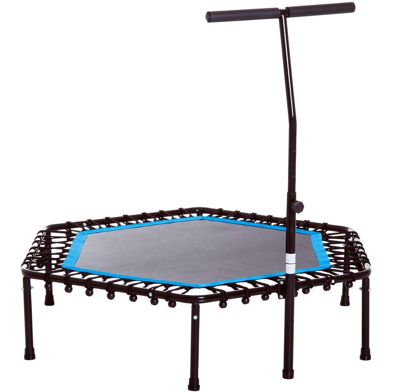 Trampoline de Fitness / Gymnastique haute performance Ø 114 cm élastiques Bungee + guidon hauteur réglable 116-132 cm bleu noir