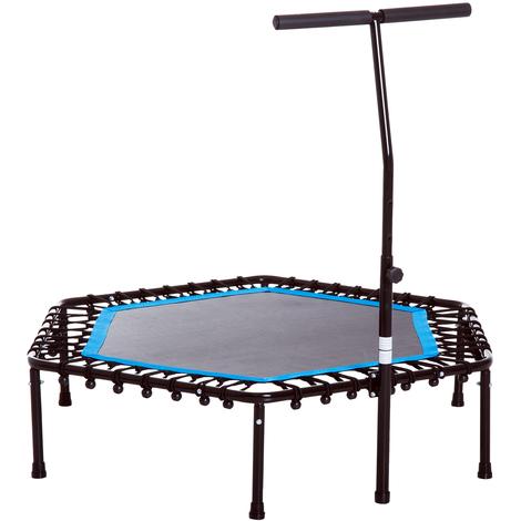 Trampoline de Fitness / Gymnastique haute performance Ø 114 cm élastiques Bungee + guidon hauteur réglable 98-114 cm