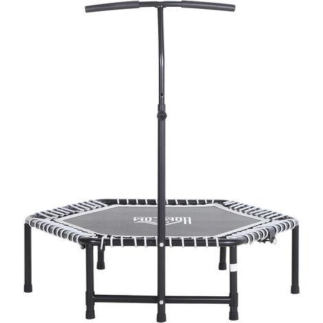 Trampoline de Fitness / Gymnastique haute performance Ø 122 cm élastiques Bungee + guidon hauteur réglable 122-138 cm gris noir