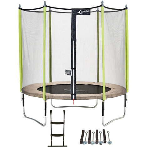 Trampoline de jardin 244 cm + filet de sécurité + échelle + kit d'ancrage JUMPI Taupe/Vert 250 - Vert