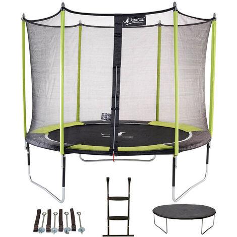 Trampoline de jardin 305 cm + filet de sécurité + échelle + bâche de protection + kit d'ancrage JUMPI POP 300