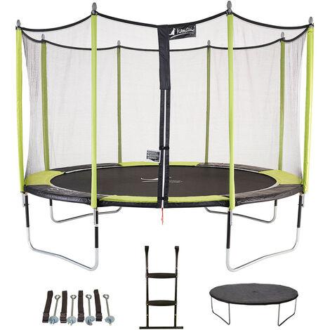 Trampoline de jardin 365 cm + filet de sécurité + échelle + bâche de protection + kit d'ancrage JUMPI Vert/Noir 360 - Vert