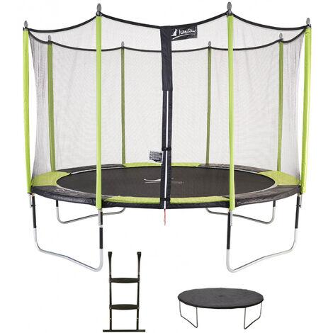Trampoline de jardin 365 cm + filet de sécurité + échelle + bâche de protection JUMPI POP 360