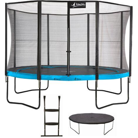 Trampoline de jardin 365 cm + filet de sécurité + échelle + bâche de protection PUNCHI Bleu 360 - Bleu