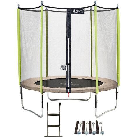 Trampoline de jardin 365 cm + filet de sécurité + échelle + kit d'ancrage JUMPI Taupe/Vert 360 - Vert