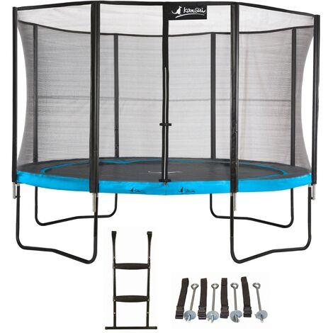 Trampoline de jardin 365 cm + filet de sécurité + échelle + kit d'ancrage PUNCHI Bleu 360 - Bleu